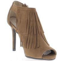 Chaussmoi - Low-boots camel ouverts à talon de 10cm aspect daim avec franges