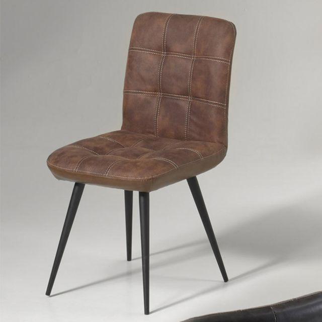 Nouvomeuble Chaise design grise Chelsea lot de 2