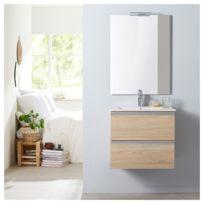 Meuble de salle de bain à suspendre chêne oak bordolino 60 cm + miroir +  éclairage - Série Dynamic 2 tiroirs