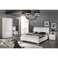 Modern salon - Ensemble 2 éléments : Lit 160x200 laqué blanc brillant + Un chevet avec 2 tiroirs
