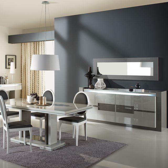 Nouvomeuble Salle à manger lumineuse blanc et gris design Rimio