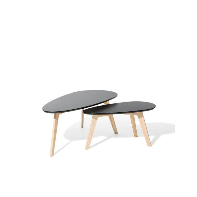 BELIANI Lot de 2 tables basses noires et bois clair FLY II - noir