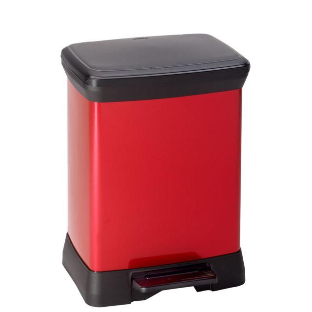 curver poubelle rectangulaire 30 l 203289 rouge noir pas cher achat vente poubelle de. Black Bedroom Furniture Sets. Home Design Ideas