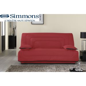 soldes relaxima banquette lit clic clac rouge spring matelas ressorts ensach s simmons 190cm. Black Bedroom Furniture Sets. Home Design Ideas