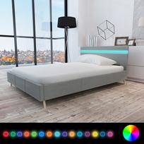 Rocambolesk - Superbe Lit avec revêtement en tissu gris clair et tête de lit Led 200 x 140cm neuf