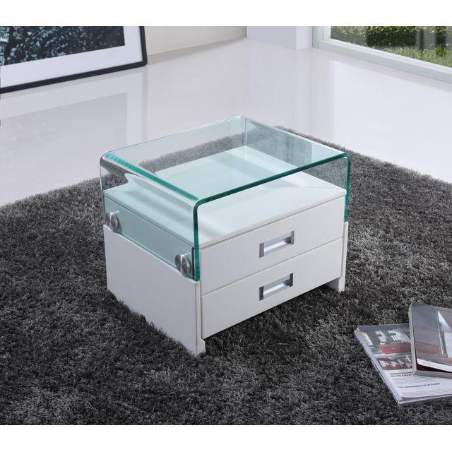 Cadentro Table de chevet design en simili cuir Blanc / Sv blanc