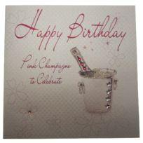White Cotton Cards - Carte D'ANNIVERSAIRE Inscription Happy Birthday To Celebrate Carte Faite Main Motif Bouteille De Champagne Ro