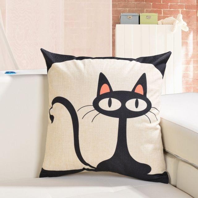wewoo coussin noir cartoon chat motif lin coton de. Black Bedroom Furniture Sets. Home Design Ideas