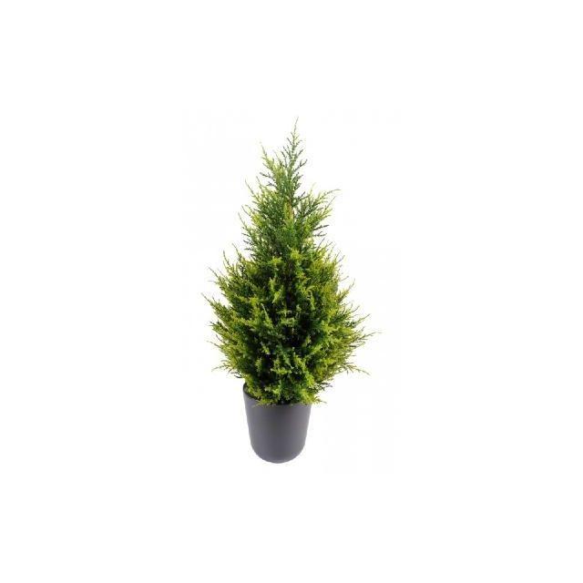 Artificielflower Plante artificielle Cypres Juniperus - intérieur extérieur - H. 65 cm vert 2 nuances - couleur : Vert 2 tons