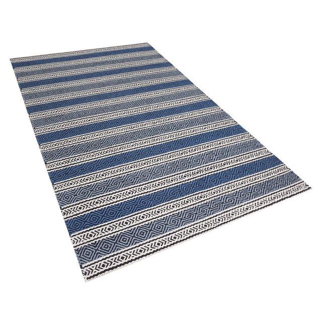 Beliani Tapis Bleu Et Gris En Coton Et Laine 140 X 200 Cm Patnos
