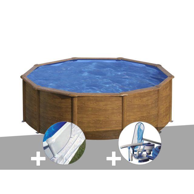 gre kit piscine acier aspect bois gr sicilia ronde 3 20. Black Bedroom Furniture Sets. Home Design Ideas