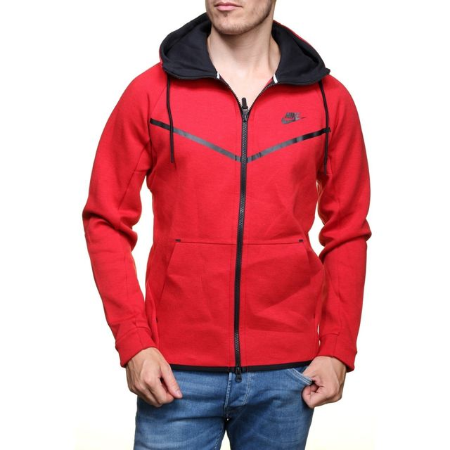 Nike - Sweat Tech Fleece Windrunner - Ref. 805144-654 Rouge - pas ... aa5eb39cf18f