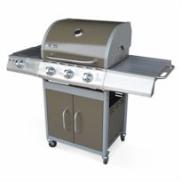 ALICE'S GARDEN - Barbecue gaz inox 14kW - Richelieu Brun - Barbecue 3 brûleurs + 1 feu latéral, côté grill et côté plancha, Marron
