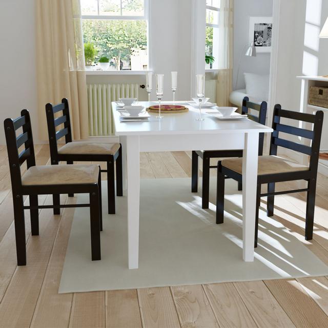 Vidaxl Set de 4 chaises marron en bois avec dossier carré