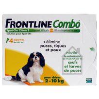 Frontline - Combo - Pipettes Antiparasitaire pour Chien de 2 à 10Kg - 4x0,67ml