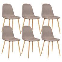 Lot de 6 Chaises salle a manger Scandinave Taupe 45x55xH85cm