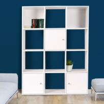 Idmarket - Meuble de rangement cube 12 cases bois blanc avec 3 portes
