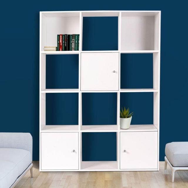 Idmarket meuble de rangement cube 12 cases bois blanc avec 3 portes pas cher achat vente - Cube de rangement avec porte ...