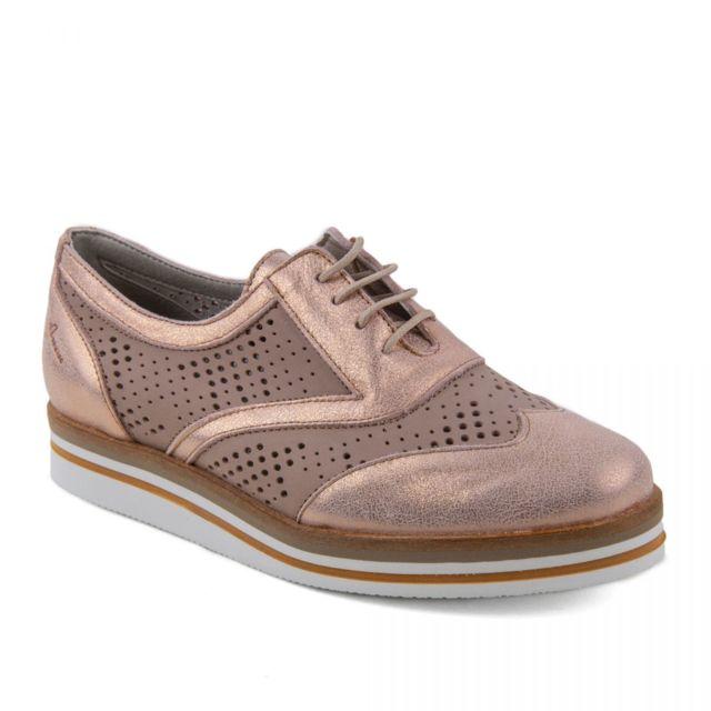 Dorking Chaussures Derbies roses brillantes en cuir femme Romy