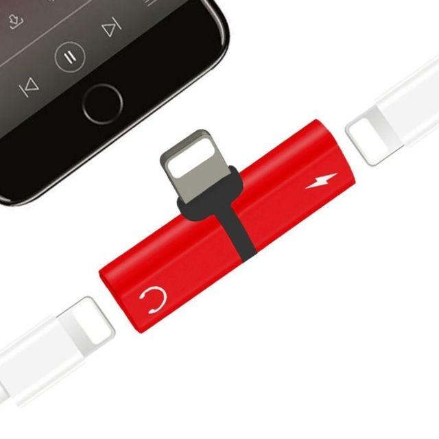 wewoo adaptateur ecouteur rouge pour iphone x 8 et 7 8 plus 7 plus 2 en 1 8 broches lightning. Black Bedroom Furniture Sets. Home Design Ideas