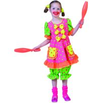Funny fashion - Deguisement Carnaval : Costume Clown Fluo - Taille : 12/14 ans 150 à 162 cm
