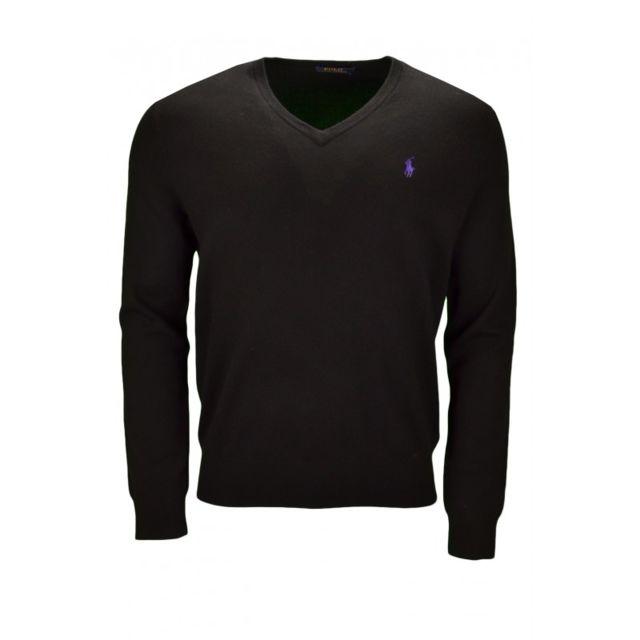 f8649f77ea9 Ralph Lauren - Pull col V en laine noir pour homme - pas cher Achat   Vente  Pull homme - RueDuCommerce
