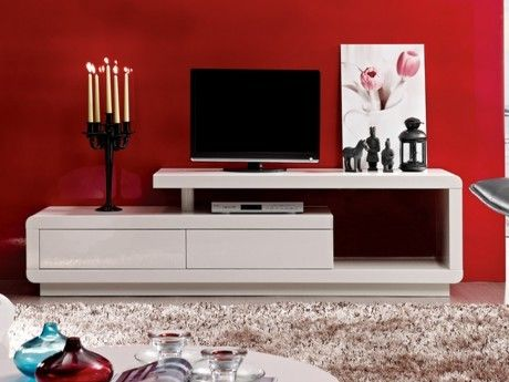 VENTE-UNIQUE - Meuble TV ARTABAN - 2 tiroirs - MDF laqué - Blanc ...