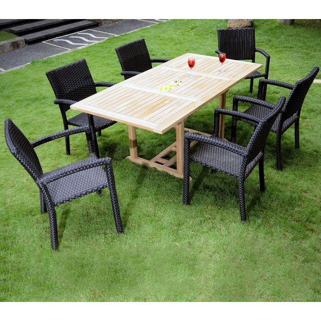 salon de jardin 6 places en teck et résine tressée - table rectangle  120-180 cm