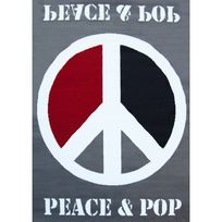 Mondialtapis - Tapis Peace & Pop Gris - Couleur - Gris, Taille - 120 / 160 cm