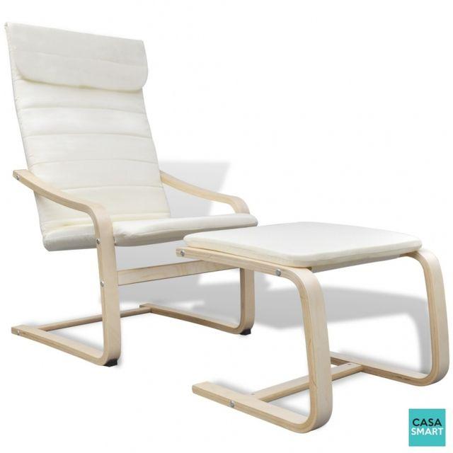 Casasmart Lika fauteuil en bois beige clair relaxant