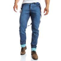 Jeansnet - Jn Jeans - Jean homme droit froissé à bretelles bleu