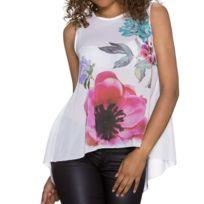 70f34cf91752 In-stylefashion - Top sexy haut tee shirt debardeur tunique blouse blanche  fleurs chic élégant