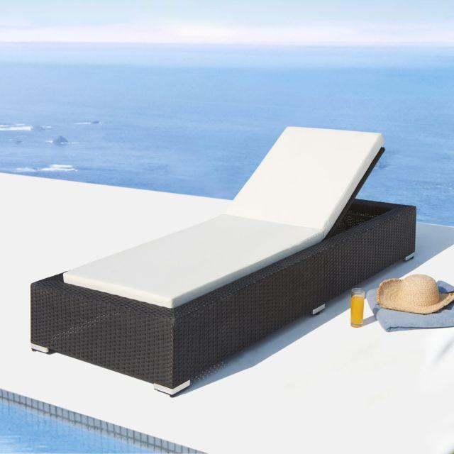 CONCEPT USINE Sunshine : bain de soleil en résine tressée noire, matelas blanc