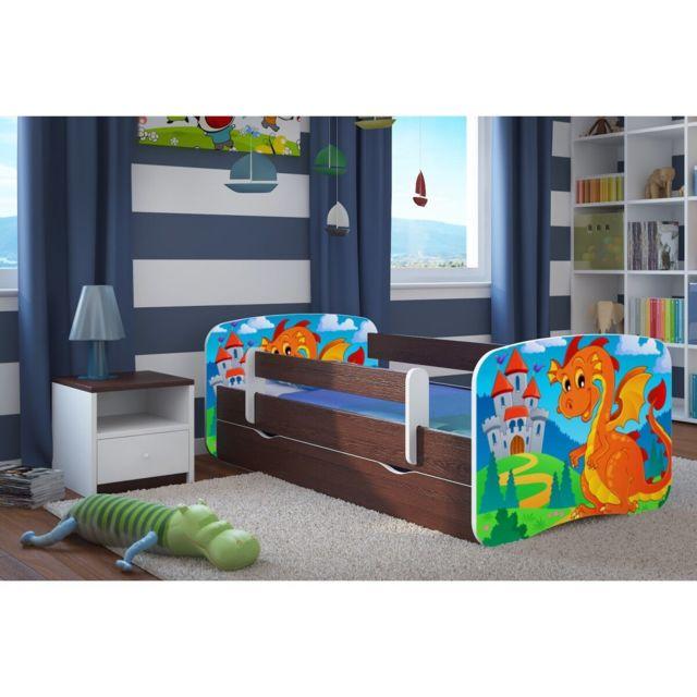 carellia lit enfant dragon et ch teau 70 cm x 140 cm avec barriere de securite sommier. Black Bedroom Furniture Sets. Home Design Ideas