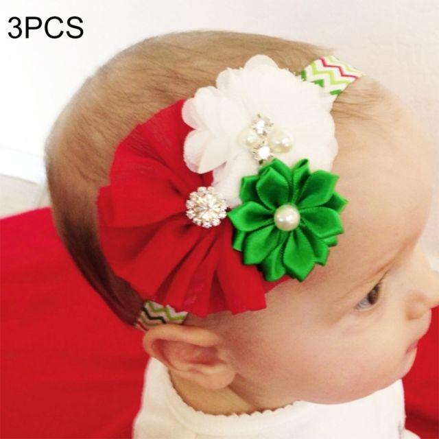 e57a20fd90bd1 Wewoo - Bandeau 3 Pcs décoration de Noël bébé enfant en mousseline de soie  fleur bandeau
