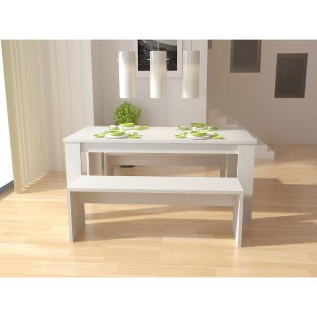 TABLE A MANGER AVEC CHAISES NEW MILANO Table a manger de 6 a 8 personnes + 2 bancs style contemporain blanc laqué brilla