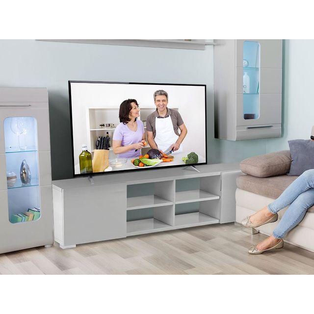 HABITAT ET JARDIN Meuble TV Alicia - 185 x 30 x 42,5 cm - Gris laqué