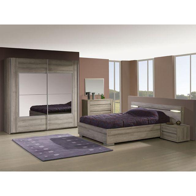 Altobuy Parker - Chambre 160x200 avec Armoire 220cm