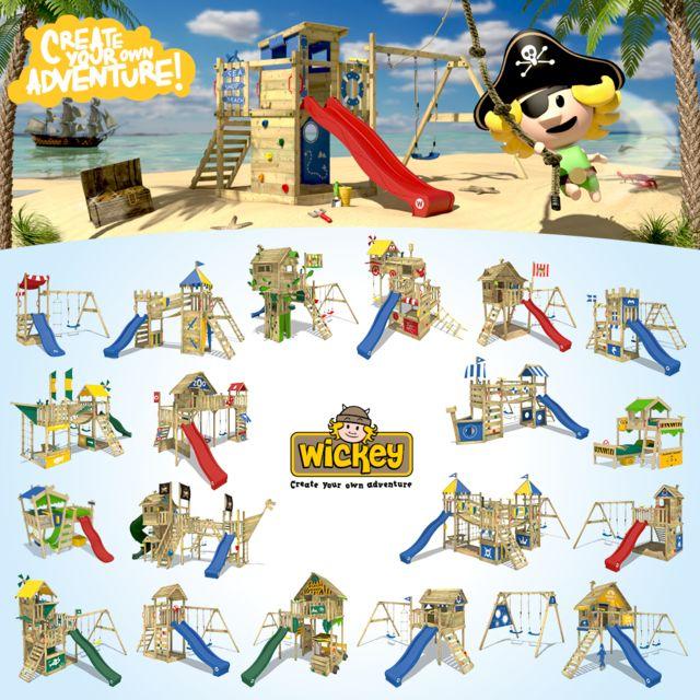 WICKEY Smart Sail Aire de jeux Cabane Portique bois Balançoire Toboggan Enfant