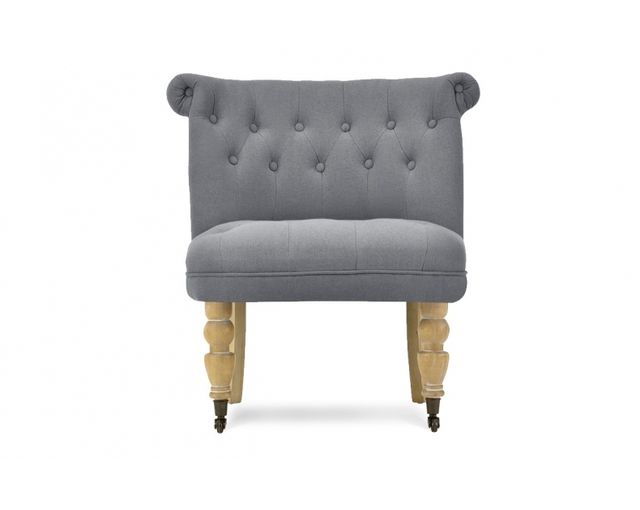 Remarquable Fauteuil crapaud lin anthracite Castle