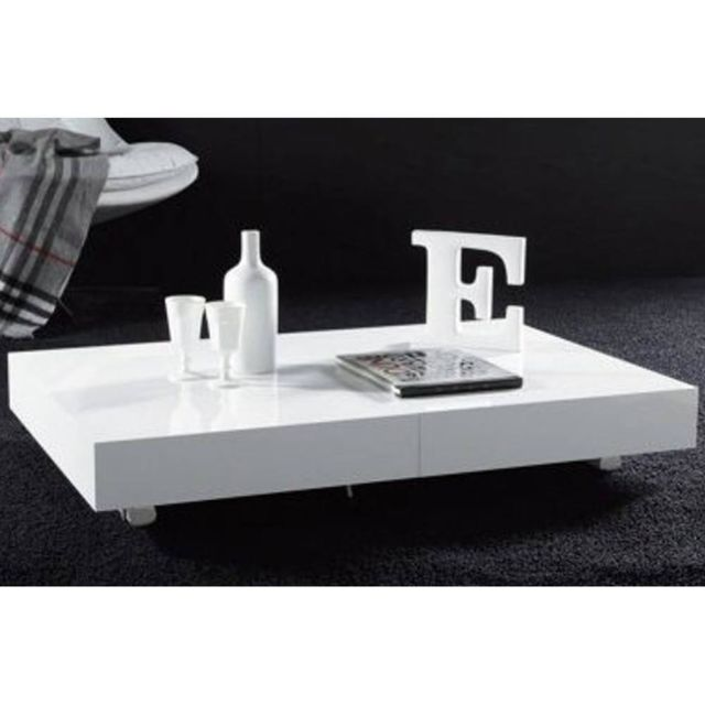 Inside 75 Table basse relevable extensible Block design blanc brillant