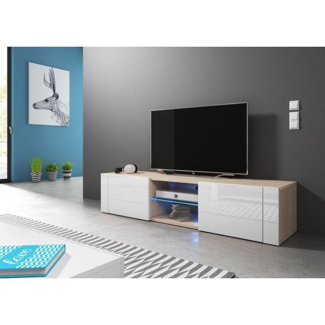 Vivaldi Hit Meuble Tv Design coloris chêne sonoma avec blanc brillant. Eclairage à la Led bleue