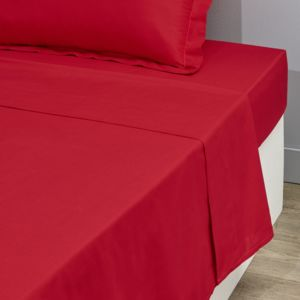 tex home drap plat uni en coton rouge pas cher achat vente draps plats rueducommerce. Black Bedroom Furniture Sets. Home Design Ideas