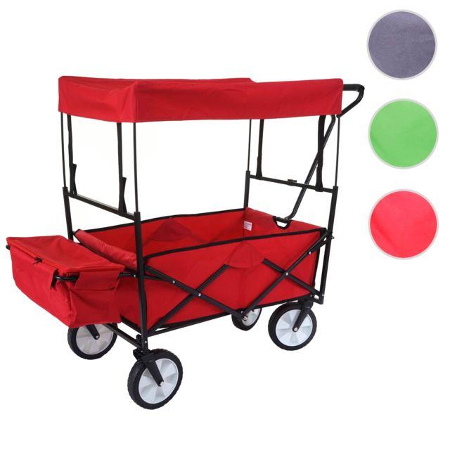 Mendler Chariot pliable Hwc-e38, charette à bras, charette de jardin ~ avec toit et poche arrière, rouge