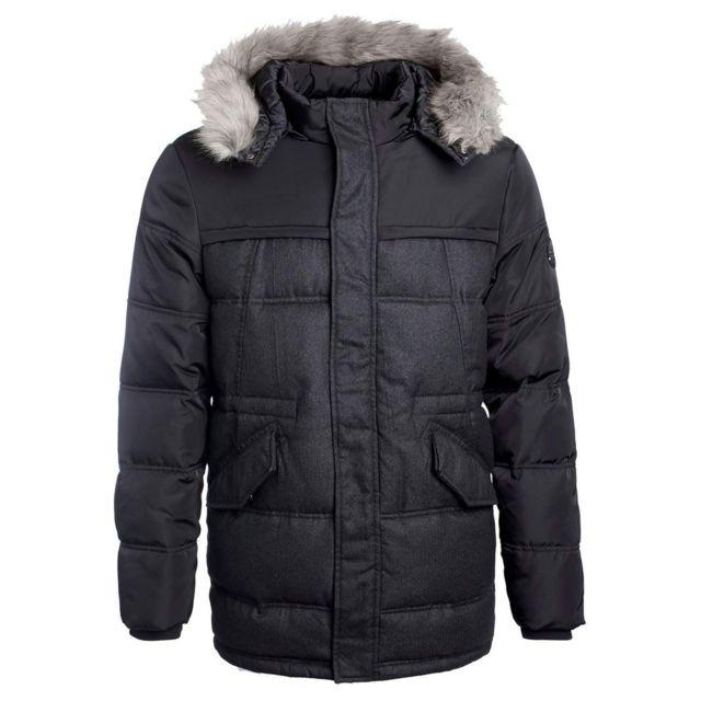 Teddy Smith - Manteau Pera mi long noir avec capuche grise - pas ... d6d1d1e542ac