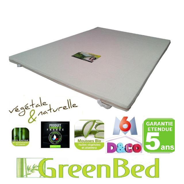 Greenbed Surmatelas mémoire de forme Viscogreen 140x190cm de 6cm d'épaisseur perforée pour mieux respire