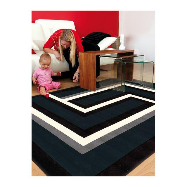 Arte Espina Tapis De Salon Moderne Design Tweed Noir 70 140