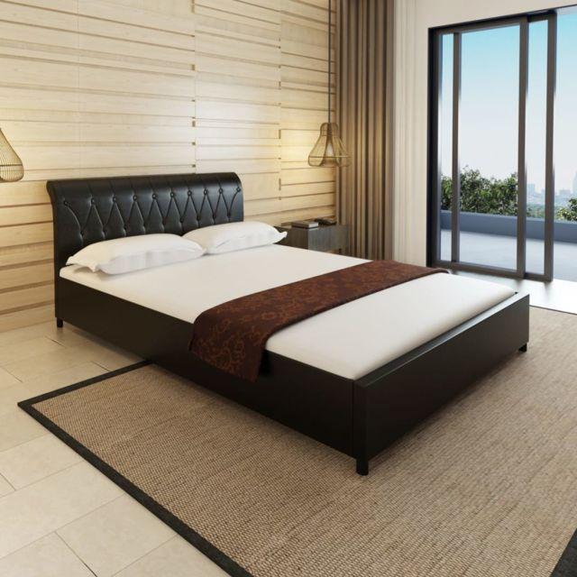 sans marque lit capitonn en cuir artificiel noir 140 x 200 cm voir description nccm x n acm. Black Bedroom Furniture Sets. Home Design Ideas