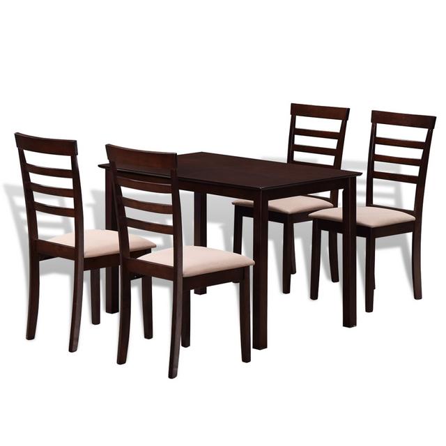Vidaxl Set table à manger et 4 chaises marron/crème en bois massif