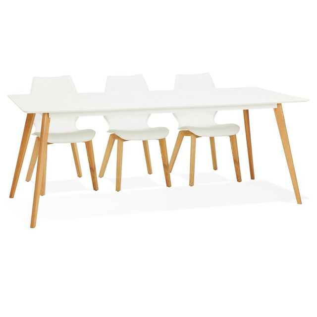 Alterego Table à manger design 'MADY' blanche style scandinave - 200x90 cm